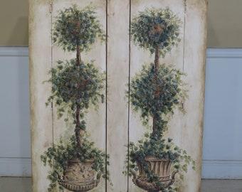 44576EC: HABERSHAM Hand Painted 2 Door Pie Safe Cupboard