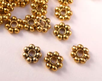 Daisy Spacers 100 5mm Antique Gold Spacers Gold Findings Gold Beads Metal Beads Gold Spacers