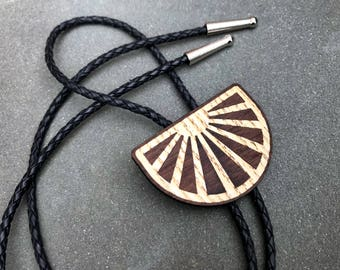 Wooden Bolo Tie Sunbeam Leather Lariat Necklace Inlay Marquetry Men's Women's Unisex Gift