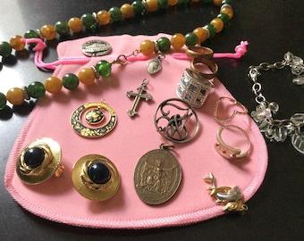 Splendid VINTAGE Antique JEWELRY set - Necklace, Cross, Locket, Rings, Brooch - Beautiful Vintage Jewelry - from France