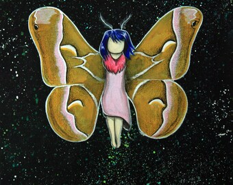 Metamorphosis - 8x10 Art Print - Girl with Blue Hair Changing into a Ailanthus Silk Moth - Art by Marcia Furman