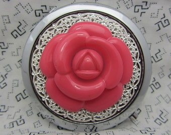 Compact Mirror Big Pink Rose Comes With  Protective Pouch Gift for Her Gift under 20