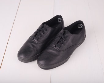 Vintage Keds Black Leather Sneakers, Womens 8 1/2 / ITEM193