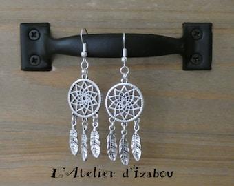 Long dangling earrings catch dreams feathers in silver!