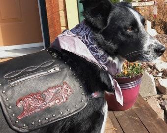 Tooled Leather Dog Vest