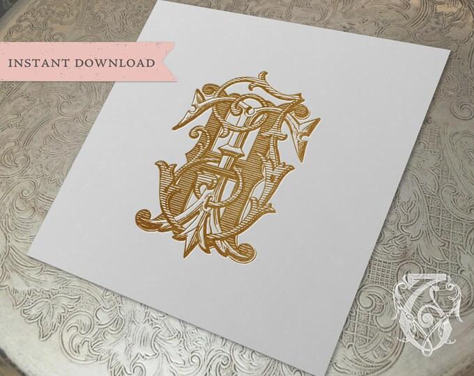 3 Initial Vintage Monogram HJT Three Letter Wedding Monogram Digital Download H J T