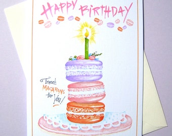 French Macaron Birthday Card - Cookie Birthday Card - Birthday for Her - Girlfriend Birthday - Baker Birthday Card