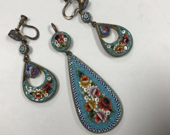 d321 Vintage 3pc Set Pendant and Earrings Blue Floral Italian Mosaic Jewelry