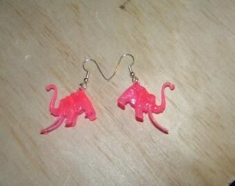 Bright Pink Woolly Mammoth Earrings