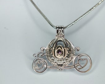 Princess Cinderella Pearl Cage Carriage Silver Plated Charm Necklace with Cultured Black Pearl Pick A Pearl