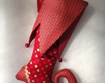 Whimsical red & gold elf toe Christmas stocking. Variations available.