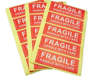"24 Fragile Handle With Care Postal Shipping Label Stickers Size: 75mm x25mm (1x3"")"