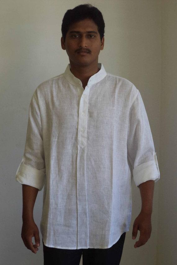 Mens Nehru Collar Short Shirt Kurta In Linen