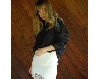 EXTRA 20% OFF SALE.... Black Oversized l/s Button Down Shirt - Vintage 90s - L/Xl