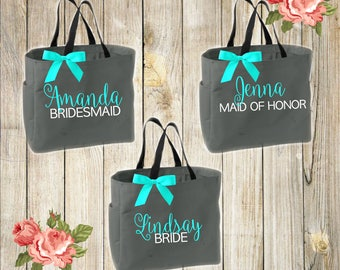 Bridesmaid tote bags , personalized, wedding, bridesmaid gifts , tote bag , beach bag , bachelorette party gift ,wedding bab