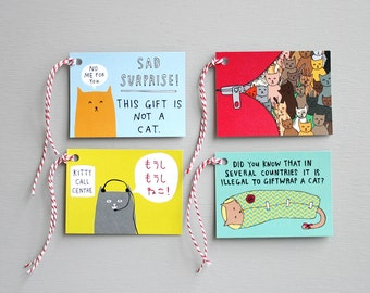 Gift Tags - Kitty Cat Tags - Pack Of Eight
