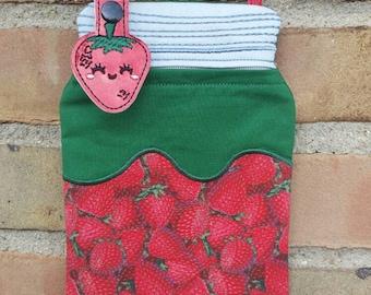 Strawberry Bag - Strawberry - Strawberry Purse - Strawberry Keychain - Strawberry Party - Cosmetic Bag - Small Bag - Mason Jar Bag