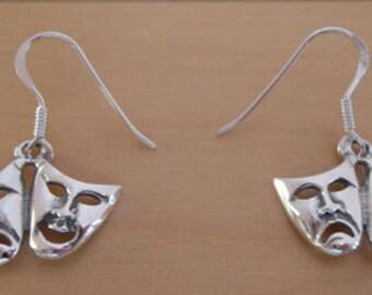 925 Sterling Silver Drop Comedy & Tragedy Mask, Face Earrings