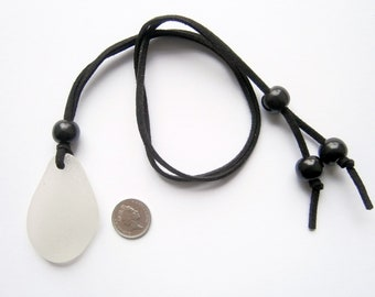 Anglesey,Large White Natural Surf Tumbled Sea Glass Beach Pendant Necklace k