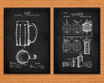 Mens Beer Gift for Him, Set Of 2, Vintage Beer Art, Man Cave Art, Beer Wall Decor, Beer Poster, Beer Brewery Decor, Kitchen Decor, Brewing