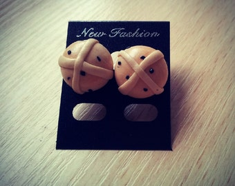 Hot Cross Buns Stud Earrings