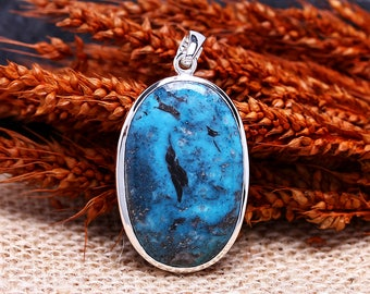 Blue Arizona Turquoise Pendant | December Birthstone | Sterling Silver Pendant | Beautiful Oval Genuine Natural Turquoise Gemstone