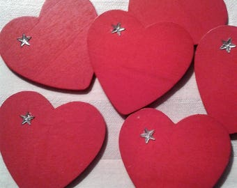 5 red wooden hearts set of 5 hearts painted both sides with a Silver Star on the side for