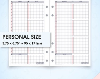 Daily planner undated filofax personal size planner inserts printable do1p (daily inserts, daily inserts, daily schedule, day planner)