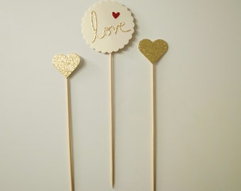 3 Cake Toppers Love Glitter Gold