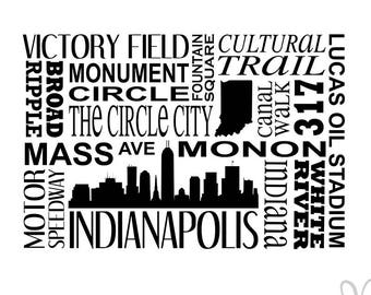 Indianapolis Indiana Subway Art with State Silhouette and Skyline - Instant Download File - svg / jpg / Studio3 / PDF