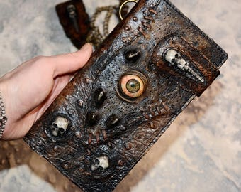Personalized gift Zombie Men wallet Leather wallet men Long wallet Chain wallet Biker wallet Biker wallet chain Mens wallet chain Zombie eye