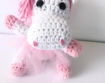 Crochet Princess Unicorn inspired doll with tutu