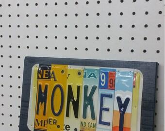 License Plate Sign License Plate letter Art Picture Home Deco MONKEY License Plate Letter Sign License Plate Art