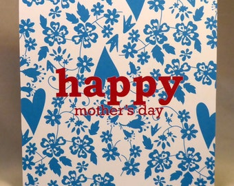Heart and flowers background-Mothers Day card