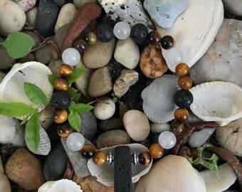 Tiger Eye and Quartzite aromatherapy bracelet
