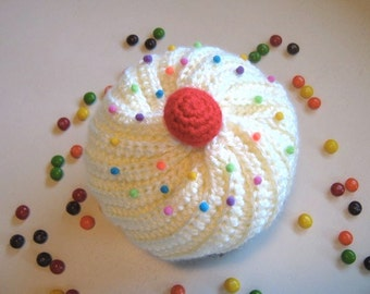 Crochet Cupcake Hat with Sprinkles in Chocolate and Cream Frosting - Made To Order