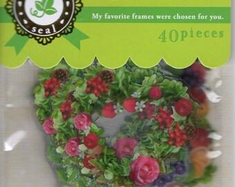 Japan kawaii FLOWER FRAME 40pcs stickers flake