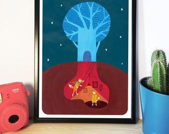 A3 Fantastic Mr Fox Inspired Illustration, Artwork, Art Print