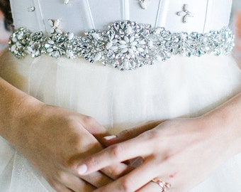 Bridal Rhinestone wedding sash Belt, art deco crystal, glam, gatsby accessory, bridal sash, embroidered, crystal pattern