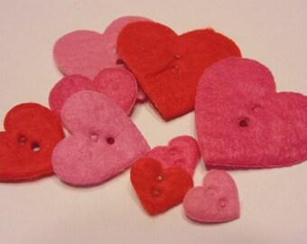 9 piece heart felt button mix, 15-38 mm (B7)