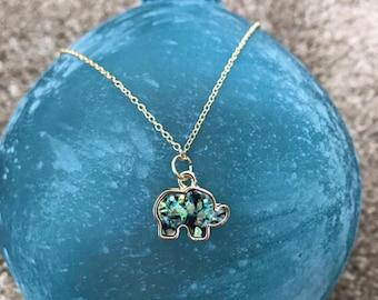 "Green/Blue Opal Elephant charm necklace on gold plated chain. Elephant jewelry. 18"" gold plated chain. Opal necklace. Opal jewelry"