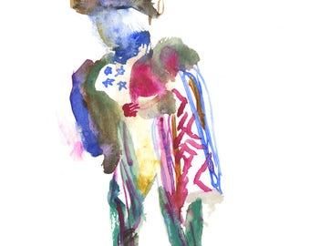 "Abstract Figure Painting, Surreal Art, Original Watercolor, Gouache, 6"" x 6"" - 191"