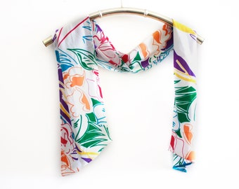 Vintage White Long Scarf With Colorful Floral Print