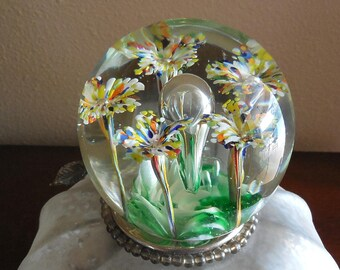 Botanical Glass Paperweight, Floral Art Glass with Multi Colored Stemmed Flowers