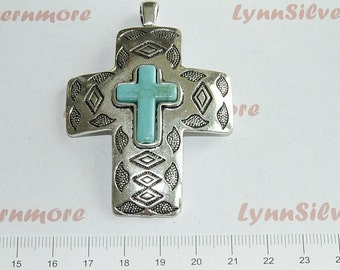 1 pcs - 70x49mm Textures print Cross Pendant with Turquoise Antique Silver Lead Free Pewter