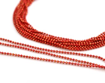 chain 50cm 1.2 mm metal red and gold beads