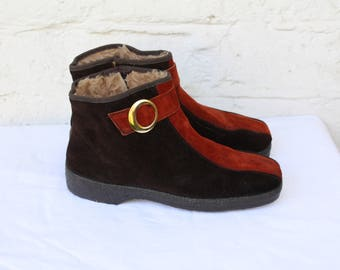 Hippie Ankle Boots / 1970s Suede Boots / Vintage Brown Boots / Mod Groovy Boots / 70s Lined Boots / 1970s Womens Suede Ankle Boots 7.5