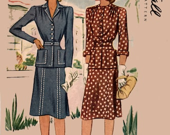 Vintage 1940s CLASSY Two Piece Fitted Dress Sewing Pattern McCall 4564 40s Swing Era Pattern Size 18 Bust 36