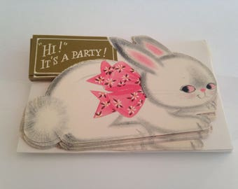 vintage hallmark easter bunny card invitation set of 8, unused, new old stock