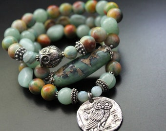 Green Girl Studios owl bracelet, soft green jade bracelet, gemstone stretch stacking bracelet, summer owl bead bracelet, unique bracelet